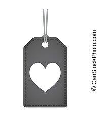 játék, szív, kártya, piszkavas, elszigetelt, aláír, címke