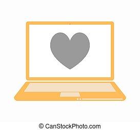 játék, szív, kártya, piszkavas, elszigetelt, aláír, laptop