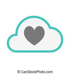 játék, szív, kártya, piszkavas, elszigetelt, felhő, aláír