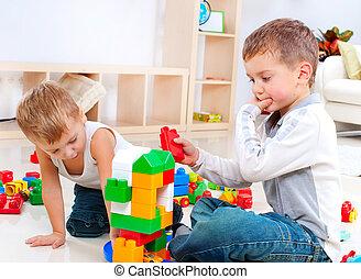 játék, szerkesztés, fiú, emelet, állhatatos, gyerekek