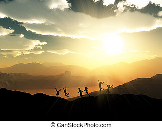 játék, táj, napnyugta, 3, körvonal, gyerekek