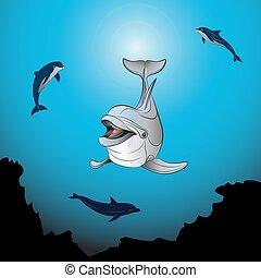 játék, tenger, delfinek