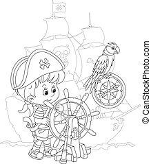 játék, tenger, kicsi fiú, kalóz