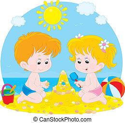 játék, tengerpart, gyerekek