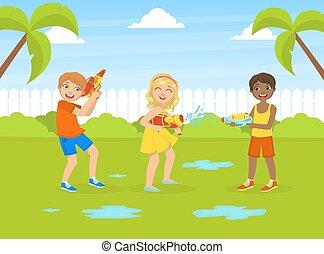 játék, víz, szabadban, ábra, fegyverek, móka, csinos, boldog, gyerekek, nyár, vektor, birtoklás, leány, fiú, szünidő