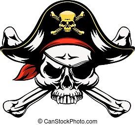 játékkockák, koponya, keresztbe tett, kalóz