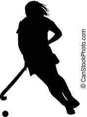 játékos, árnykép, leány, hölgyek, labda, csöpögő, jégkorong
