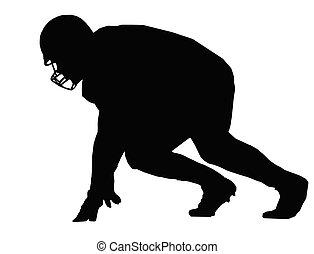 játékos, amerikai futball, árnykép, összecsapás
