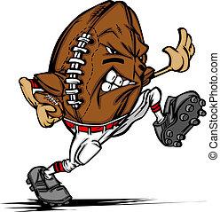 játékos, amerikai futball, karikatúra