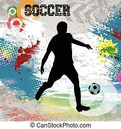 játékos, focilabda, poszter