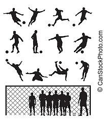 játékos, futball, állhatatos, fekete, labdarúgás