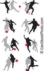 játékos, futball, poses02, alakzat, 8