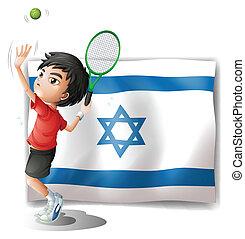 játékos, izrael, tenisz, lobogó