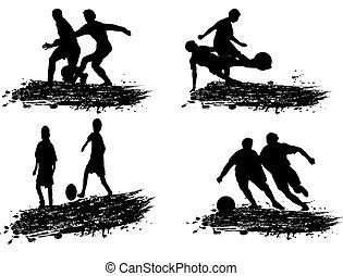 játékos, körvonal, futball