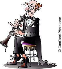 játékos, klarinét, klasszikus