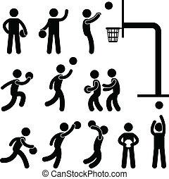 játékos, kosárlabda, emberek, ikon, aláír