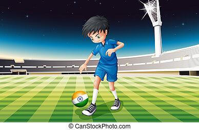 játékos, lobogó, hím, india, futball