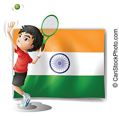 játékos, lobogó, tenisz, india