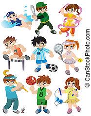 játékos, sport, állhatatos, karikatúra, ikon