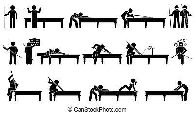 játékos, sznúker, asztal., játék, profi
