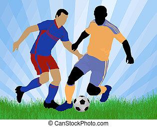 játékos, támad, futball