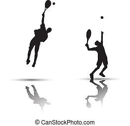 játékos, tenisz, árnykép