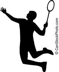 játékos, tollaslabda, árnykép