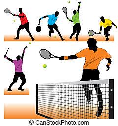 játékosok, körvonal, tenisz, állhatatos, 6