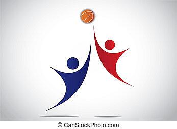 játékosok, kosárlabda, fiatal, játék