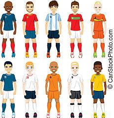 játékosok, nemzeti, futballcsapat