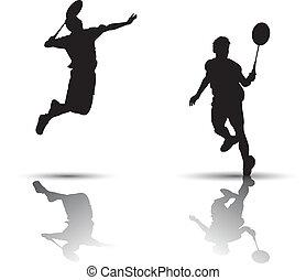 játékosok, tollaslabda, árnykép