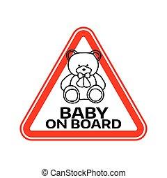 játékszer, árnykép, autó, böllér, hord, aláír, háttér., bizottság, gyermek, csecsemő, háromszög, fehér, warning., piros