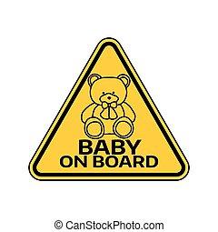 játékszer, árnykép, autó, böllér, hord, aláír, háttér., sárga, gyermek, csecsemő, háromszög, warning., white kosztol
