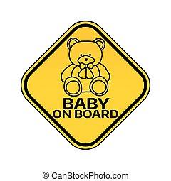 játékszer, árnykép, autó, böllér, hord, aláír, háttér., sárga, gyermek, csecsemő, warning., rombusz, white kosztol