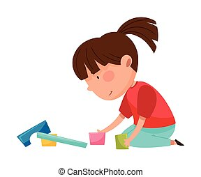 játékszer, ülés, szerkesztés, emelet, leány, gyerekszoba, furcsa, játék, vektor, ábra
