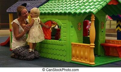 játékszer, bánik, színes, épület, gyermek, anya