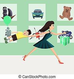 játékszer, futás, vektor, anya, karikatúra, bolt