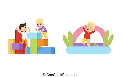 játékszer, móka, gyerekek, ábra, karikatúra, ugrás, birtoklás, gyerekek, ugróasztal, játszótér, játék, felfújható, vektor, kevés, állhatatos, eltöm