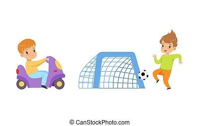 játékszer, móka, gyerekek, ábra, motorkerékpár, karikatúra, birtoklás, gyerekek, futball, lovaglás, játszótér, játék, vektor, kevés, állhatatos