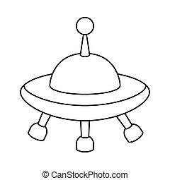 játékszer, tervezés, vektor, ufo, elszigetelt