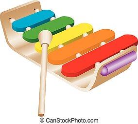 játékszer, xilofon, gyermekek