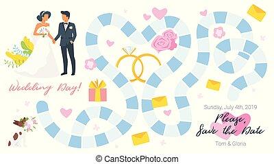 játéktábla, sablon, esküvő