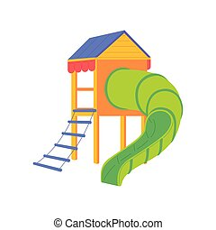 játszótér, móka, csúszás, elszigetelt, gyerekek, vektor, játékok, ábra, cső