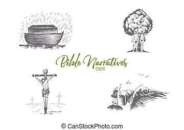 jézus, ádám, -, narratives, vektor, fogalom, bárka, krisztus, állhatatos, noahs, előest, biblia