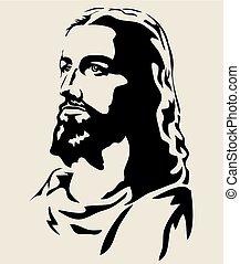jézus, árnykép, arc