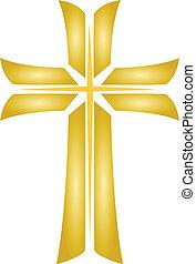 jézus, arany-, kereszt