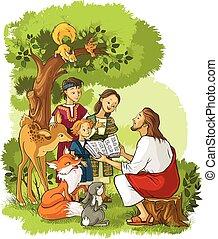 jézus, biblia, állatok, felolvasás, gyerekek