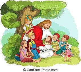 jézus, biblia, felolvasás, vektor, keresztény, children., ábra, karikatúra