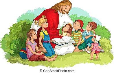 jézus, biblia, felolvasás, vektor, keresztény, gyerekek, elszigetelt, white., ábra, karikatúra