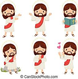 jézus, clipart, állhatatos